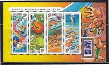 SINGAPORE 1996 ATLANTA OLYMPIC GAMES SOUVENIR SHEET OF 4 STAMPS SC#759a IN MINT