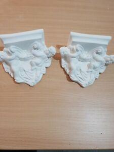 2x Architectural Ornate Plaster Cherub Corbel Bracket Shelf Wall Decor Plaques