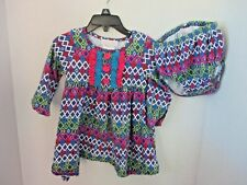 BONNIE BABY~Multi Color LONG SLEEVE DRESS & Bloomers~Girls 18 Months