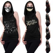 Skeleton Print Hooded Casual Top With Ear Loop Face Bandana