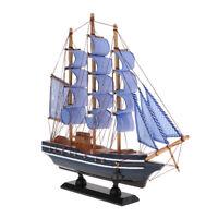 Wood Sailing Ship Handmade Carved Model Boat Nautical Theme Room Decor 33cm