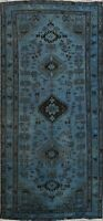 Vintage Distressed Overdyed Tribal Geometric Area Rug Handmade Wool Carpet 3'x6'