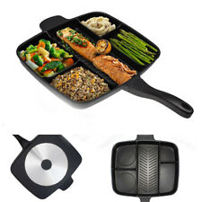"NEW 15"" Non-Stick 5 in 1 Fry Pan Divided Grill Fry Oven Meal Skillet Black"