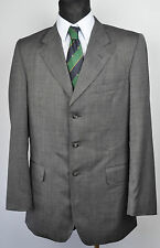 CROMBIE Textured Pattern Grey Men Blazer UK 40L Jacket Classic Coat Eur 50L Long