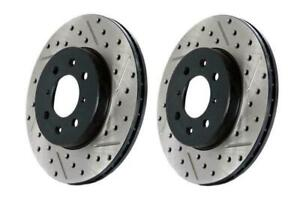 StopTech Slotted & Drilled Sport Front Brake Rotors for 12-19 Fiat 500 Abarth
