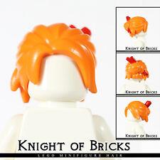 Lego Minifigure Hair ORANGE 28664pb01 Female Girl Loose Bun with Red Chopsticks