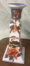 """Single 8-1/2"""" Chinese Imari Porcelain Candlestick Holder Flowers"""