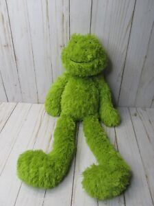 "H5 21"" Jellycat FLOPPY GREEN SHAGGY FROG LONG LEGS PELLET WEIGHTED plush stuffed"