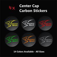 4x PEUGEOT SPORT Badge Logo Carbon Center Caps Alloy Rim Wheel Hub Stickers