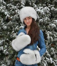 Saga Furs White Fox Fur Women's Men's Winter Mittens Gloves Wool Lining!!!
