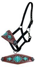 Black Nylon Horse Bronc Leather Noseband Halter Turquoise Beads CROSS Conchos