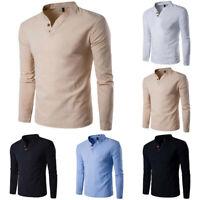 Cotton Tops Fashion Shirt Men's Shirts Tee Long T Men Slim Casual Sleeve