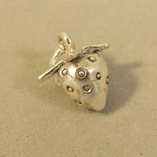 .925 Sterling Silver 3-D STRAWBERRY CHARM Pendant Fruit Food NEW 925 KT72