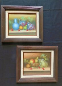 Two 70's Still life Oil paintings with Beehive  Espresso Frames Signed Thomas