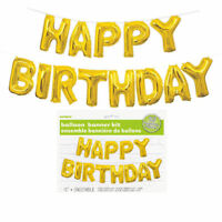 Happy Birthday Balloon Banner Kit - Gold - Air Party Decoration Letters Value