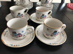 International Stoneware Heartland Series Set of 4 Coffee Mugs and Saucers Mint
