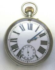 LARGE POCKET WATCH ARGENTAN OPEN FACE SWISS MADE WIND UP, NICE CONDITION