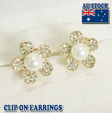 18CT Gold Plated Flower Clip On Earrings With Cream Sea Shell Pearl