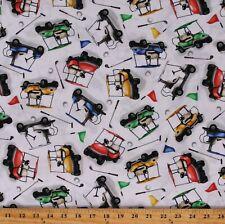 Cotton Golf Carts Transportation Sports Golfing Fabric Print by the Yard D667.73