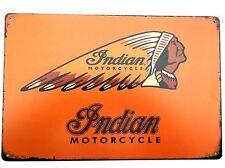INDIAN MOTORCYCLE Design (11) in metallo latta piastra segni VINTAGE CAFE PUB Garage