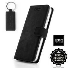 SURAZO® Echtes Leder Handy RFID-Blocking Wallet Case Etui Schutzhülle - Schwarz