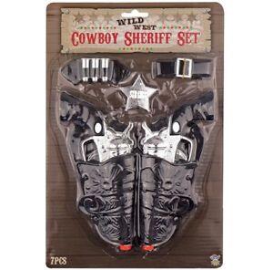 Cowboy Fancy Dress Toy Gun Set Revolvers Holsters Sheriff Badge Bullets Belt New
