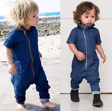 Baby Boys Girls Cute Spring Blue Soft Denim Romper Jumpsuit Playsuit 6-9 months