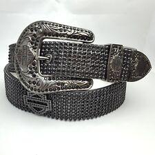 Black Diamond Harley Davidson Western Crystal Panel Belt Size M/L