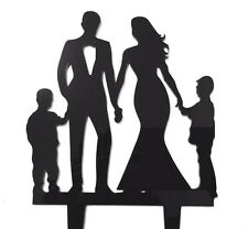 Family Bride Groom 2 Boys Son Acrylic Wedding Black Cake Topper Decoration Sign