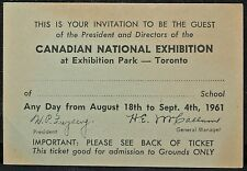 1961 CNE CANADIAN NATIONAL EXHIBITION & RCMP Musical Ride & Shriners Invitation
