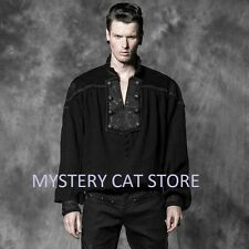 New PUNK RAVE Rock Gothic Medieval Black Cotton Shirt Top Y-513 AUSTRALIAN STOCK