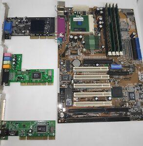 Asus CUBX-L ver.1.01 Soc370+Celeron 700MHz+TNT2 M64+Ram+LAN+Sound Retro Game SET