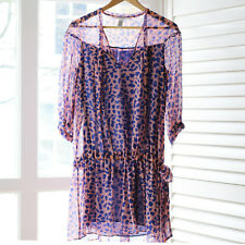Diane Von Furstenberg pink and blue leopard print silk dress/cover up UK 8/10