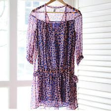 Diane Von Furstenberg pink and blue leopard print silk dress/cover up UK 8/10
