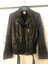 Haute Hippie Black Leather Motocycle Moto Jacket Slashed Fringe Sleeves S New
