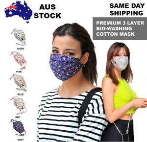 High Quality TRIPLE Layer Bio-Washed Cotton Face Mask Filter Water Resistant