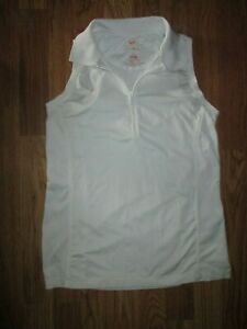 Womens PETER MILLAR athletic quarter zip sleeveless golf shirt sz L Lg UPF 50+