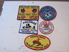 5 Vintage Creative World Rally world's fair Patch Calgary Mardi Gras LOT RV