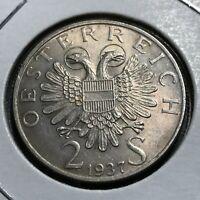 1937 AUSTRIA SILVER 2 SCHILLINGS BRILLIANT UNCIRCULATED