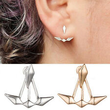 Urban Trend Silver Plated Rhombus Diamond Spike Ear Jackets Edgy Cuff Earrings