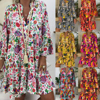 Women's Loose Print 3/4 Sleeve Mini Dress Ladies Summer Party Dresses Shirtdress