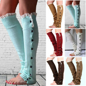 Women Cable Knit Button Long Boot Socks Over Knee Thigh High Warm Stocking XMAS