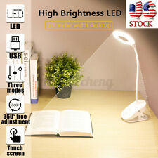 US USB Clip LED Light Home Desk Table Reading Book 1200mAh Lamp Dimmable Touch