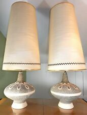 SIGNED PAIR DUBARRY SPACESHIP LAMPS MID CENTURY ORIGINAL SHADES CHALKWARE