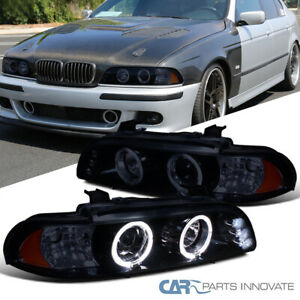 Glossy Black For BMW 96-03 E39 528i 530i Tinted LED Halo Projector Headlights