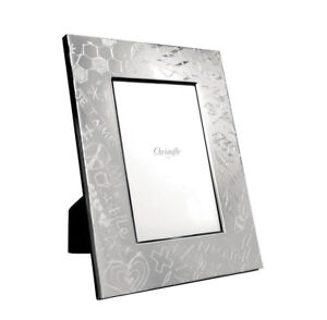 "NEW CHRISTOFLE GRAFFITI SILVER PLATED 4x6"" PICTURE FRAME #4256091 BRAND NIB F/SH"
