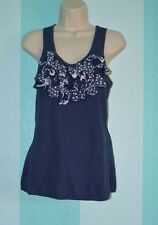 Anthropologie Little Yellow Button Tank Top Size Small Navy Blue with Polka Dot