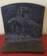 Cast Iron Native American Indian Warrior on Horse Bookend Door Stop Brave Battle