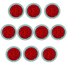 "10 Pack of 4"" Round Flange Mount Red LED Truck and Trailer Lights"
