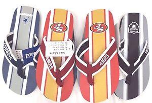 NFL Men's Contour Flip Flop Flops Thongs Sandals Cowboys 49ers Raiders